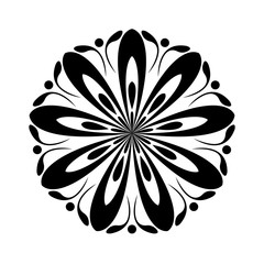 Large single flower. Black and white ornament