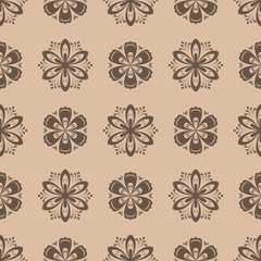 Floral seamless pattern. Brown flower elements
