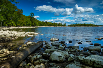 River Shoreline, Rocks and log line the shore at Morris Island Conservation Area, Ontario, Canada