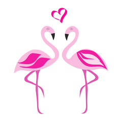 two flamingos in love vector illustration