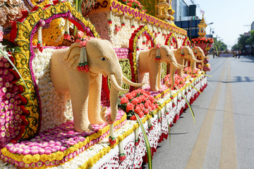 Elephant art is made from sesame seeds (Chiang Mai Flower Festival, Thailand)
