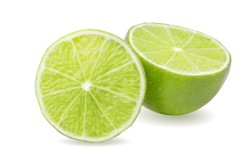 lime fruit halves isolated