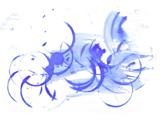 blue ink splashes isolated on white background, with clipping path