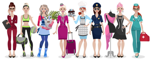 Set of different professions: doctor, fashion designer, florist, police officer, chef, stewardess, fitness trainer, secretary. Vector illustration isolated on white background.