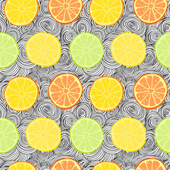 Vector seamless pattern with lemons, limes, oranges and grapefruit. Citrus fruit mix. Can be use for fabric print, postcards or drink company.