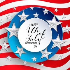Happy independence day of USA (United States of America) 4 Fourth of July celebration banner, greeting card design with balloons, fireworks,confetti, ribbon. USA freedom background. USA. Liberty.
