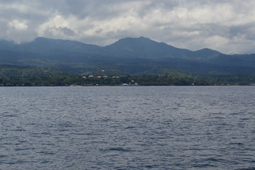 Ocean view with island in the Philippines