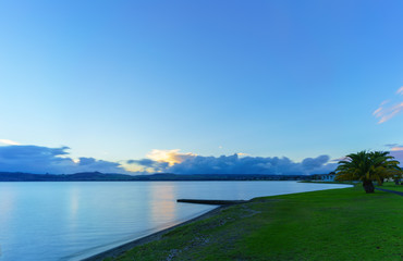 Lake Taupo in sunset, Waikato Region , North Island of New Zealand