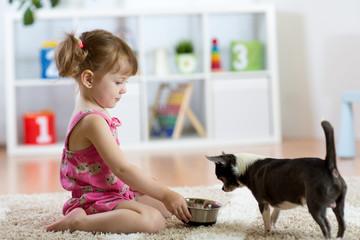 Beautiful kid girl feeding her dog in the living room
