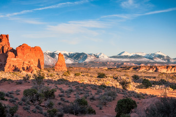 View of snow covered peaks of La Sal Mountain from Arches National Park, Utah.