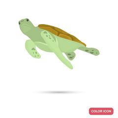 Sea turtle color flat icon for web and mobile design