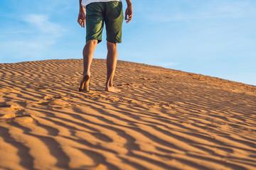 A man lost in the red desert in Vietnam, Mui Ne