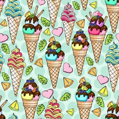 Seamless doodle pattern with  ice cream in a waffle horn with orange, chocolate, mint, sweeet heart. Hand drawn illustration