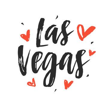 Las Vegas. Modern city hand written brush lettering