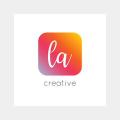LA logo, vector. Useful as branding, app icon, alphabet combination, clip-art.