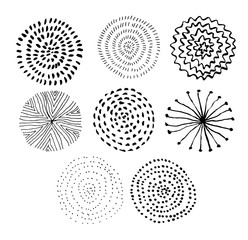 Vector ink circle textures. Abstract fireworks. Collection of hand drawn monochrome textures.