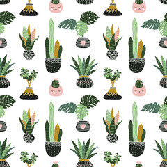 Hand drawn tropical house plants. Scandinavian style illustration, seamless pattern for fabric, wallpaper or wrap paper. Vector design flowers.