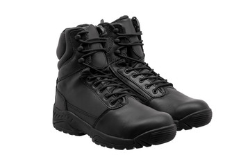 Black military leather boot isolated on white