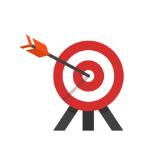 flat style illustration of target with arrow in a bulls eye on tripod.