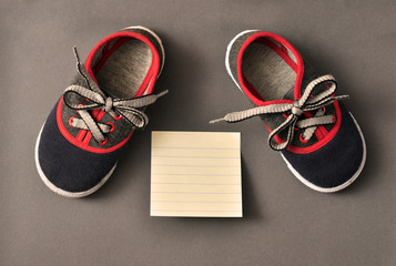 Athletic, kids sneakers invite for a walk