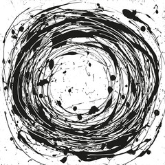 Vortex abstract background, black and white grunge vector illustration