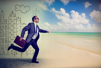 Businessman running away from a life in a city to the sunny beach