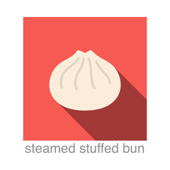 Steamed Stuffed Bun Chinese food flat icon design