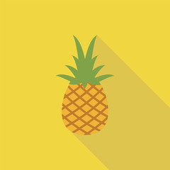 Pineapple tropical fruit. Vector object. Health symbol.