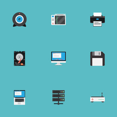 Flat Slot Machine, Datacenter, Web Cam And Other Vector Elements. Set Of Laptop Flat Symbols Also Includes Disk, Wifi, Play Objects.