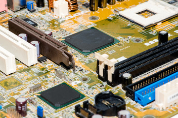 Close up of Electronic Circuits in Technology on Mainboard computer background  (logic board,cpu motherboard,Main board,system board,mobo)