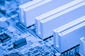 Close up of Electronic Circuits in Technology on Mainboard computer background 