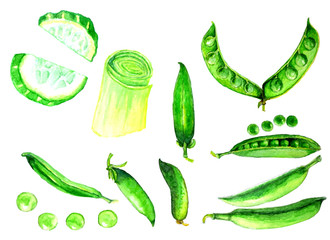 Healthy food. Green onions, green peas, slices of cucumber