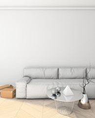 mock up modern interior with sofa. loft. 3D render