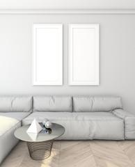 mock up modern interior with sofa. loft. 3D render