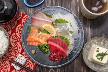 Japanese food mixed sashimi
