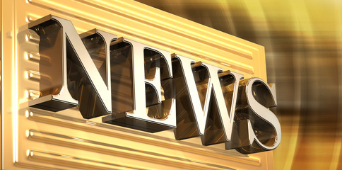 3D rendered illustration of golden News icon