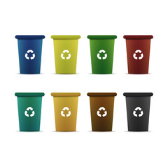 Vector isolated set of colorful containers for recycling trash on the white background. Concept of environment and pollution.