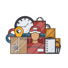 Vector isolated flat delivery elements in thin line style on the white background. Concept of logistics, transportation and fast delivery service.