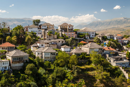 A view to the old city of Gjirokaster, UNESCO heritage, Albania