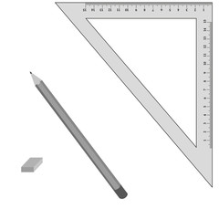 Vector image devices for drawing. The line, angle, pencil and eraser.