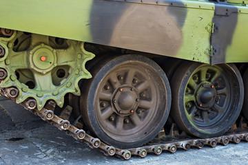Detailes of army tank caterpillars