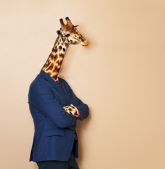 Giraffe headed businessman with his arms folded