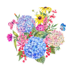 Watercolor Floral Greeting Card with Hydrangea