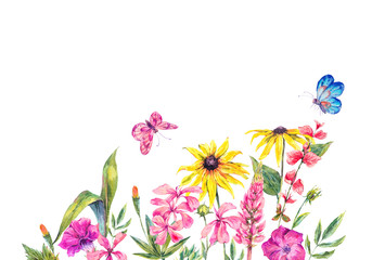 Watercolor summer greeting card with wildflowers