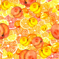 Seamless watercolor pattern with a floral pattern of  berries,Orange slices, lemon, plants and fruit peach. Beautiful vintage pattern in red, pink And orange shades. Fashionable background..