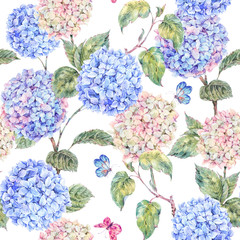 Summer seamless pattern with watercolor hydrangeas