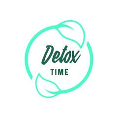 Detox time round icon. Leaves circle logo, healthy lifestyle.