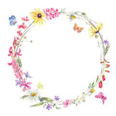 Obraz Watercolor round frame with wildflowers - fototapety do salonu