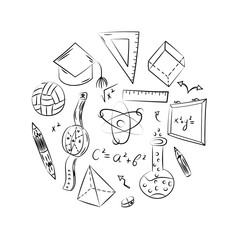 Hand Drawn School Symbols. Children Drawings of Ball, Books,Pencils, Rulers, Flask, Compass, Arrows Arranged in a Circle. Vector Illustration.