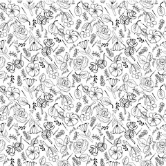 pattern of flowers hand-drawing collection black and white flowers and plants